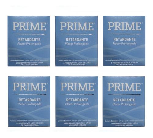 preservativos prime retardante 6 cajitas x 3