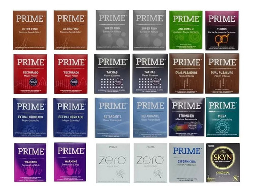 preservativos prime surtidos 24 cajitas x 3 preservativos