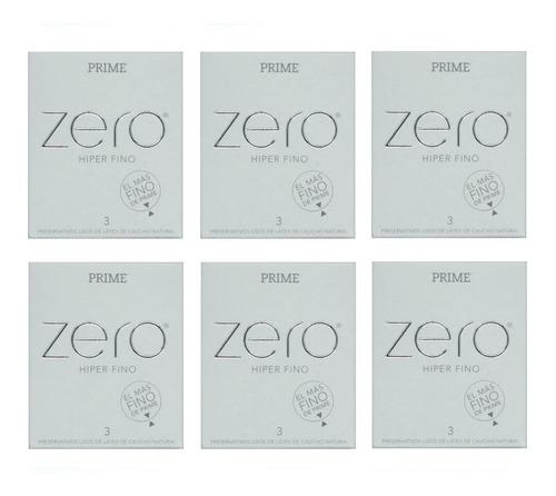 preservativos prime zero hiper fino 6 cajitas x 3 unidades