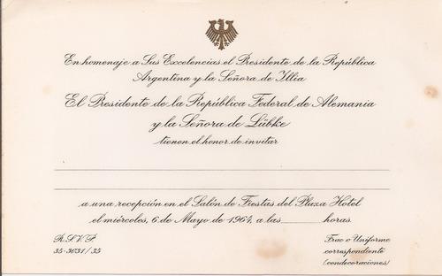 presidente illia presidente alemán lübke invitacion homenaje