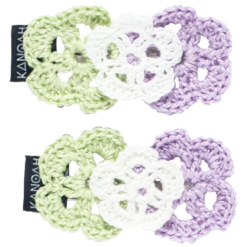 presilha flores doa taia lilás, verde e branco