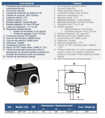 presostato para compresor de aire 1 vía 1/4 genebre art 3784