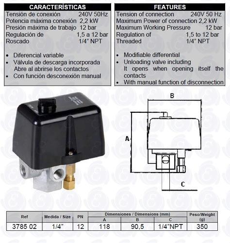 presostato para compresor de aire 4 vías genebre art 3785