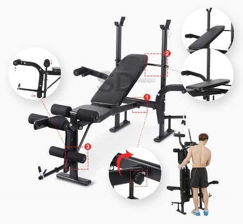 press banca 200 kg multi funcional - abdominales sdmed