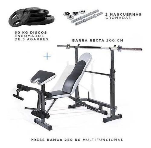 press banca 250 kg multifuncional + barra + mancuernas +60kg