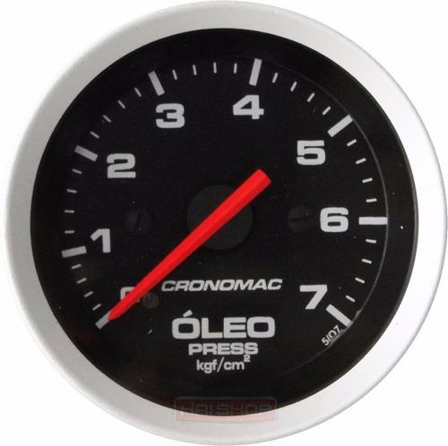 pressão óleo cronomac sport 52mm manômetro led indicador