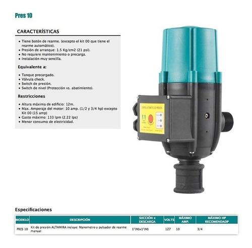 presurizador altamira control automático de presion pres 10
