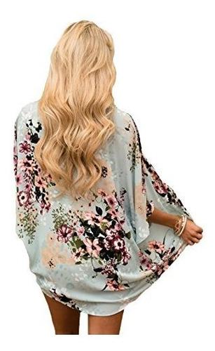 prettoday kimono manton para mujeres floral suelto mitad man