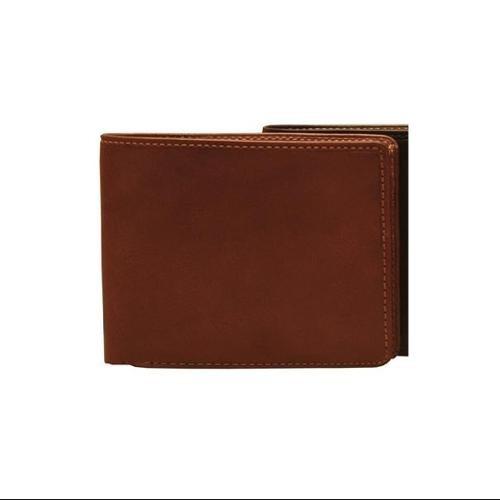 prima tri-fold cartera de cuero (marrón)
