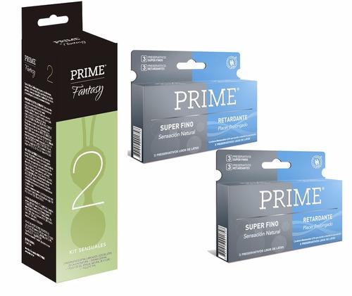 prime fantasy 2 + 12 preservativos super fino y retardante