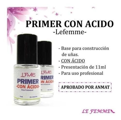 primer con acido uñas esculpidas 11ml esmalte lefemme
