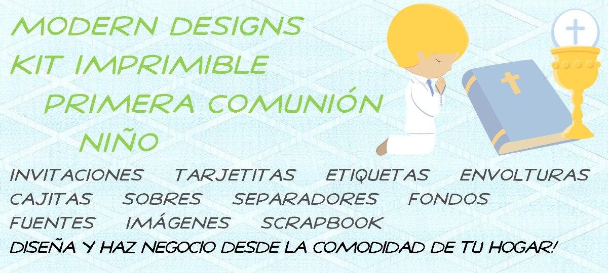a8a2b1d844fbe Kit Imprimible Primera Comunión Niño Adornos Invitaciones Y+ ...