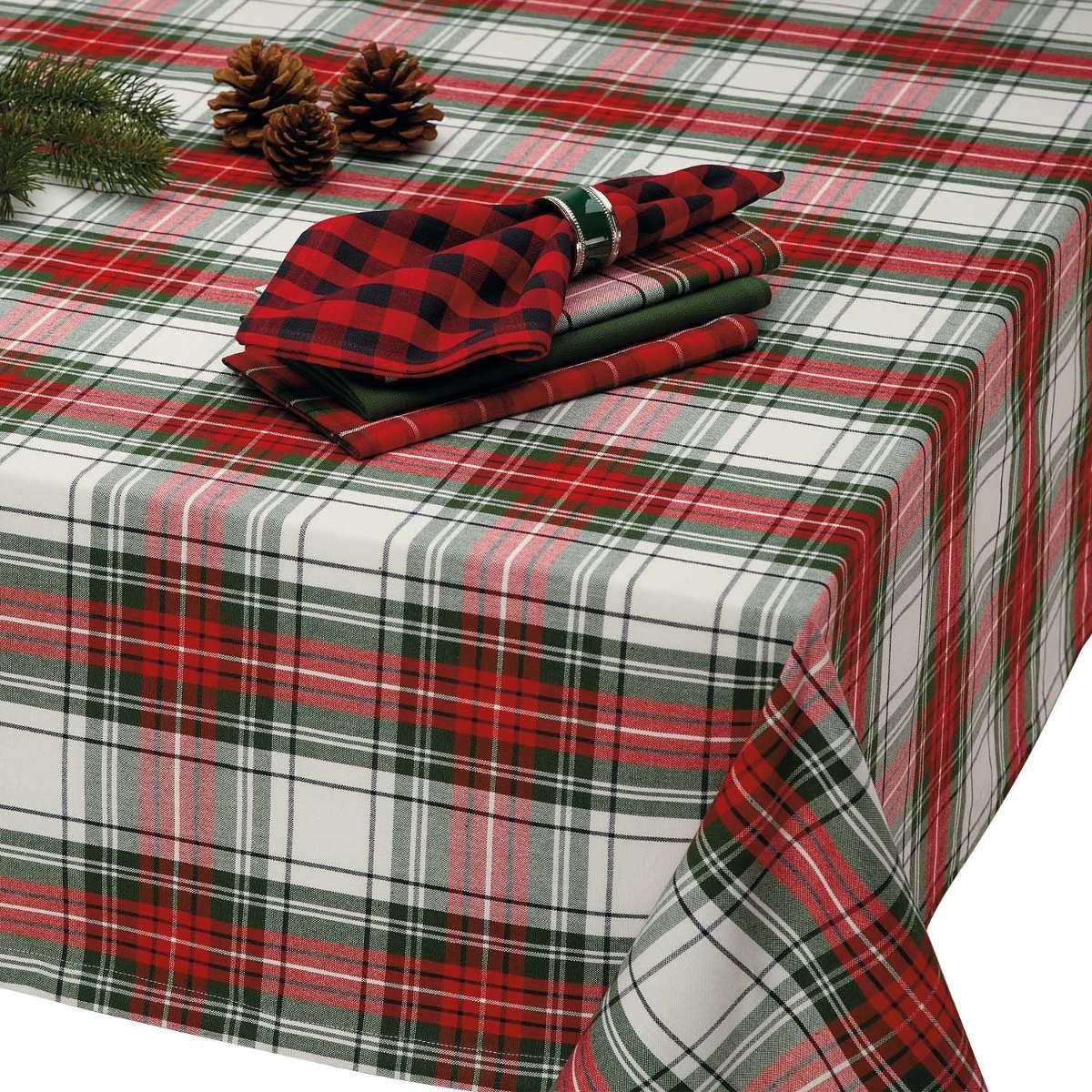corredor de la tabla 3 Tamaños Navidad festiva Tartán Mantel Servilletas