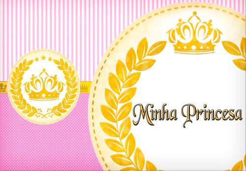 princesa coroa rosa papel de  arroz a4  bolo em 4 folhas