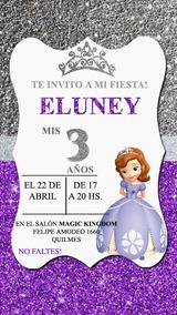 Princesa Sofia Gliter Invitación Tarjeta Digital Whatsapp