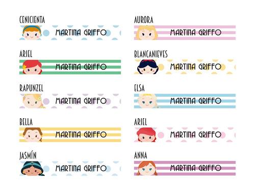 princesas etiqueta escolar stickers autoadhesivos personaliz