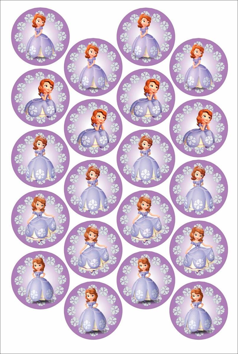 Princesinha Sofia 40 Rotulos Adesivos 5cm Frete Incluso R 29 99