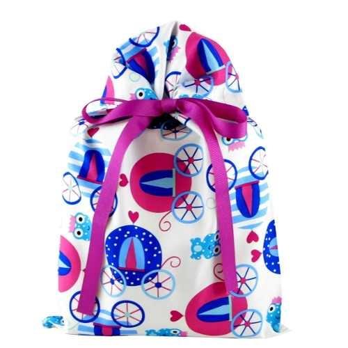 Princess Coaches Reusable Fabric Gift Bag For Birthday Or Ki