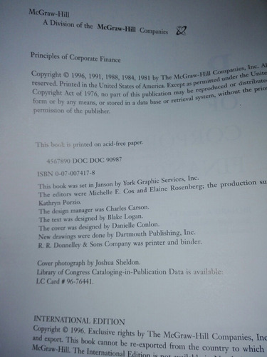 principles of corporate finance fifth edition brealey