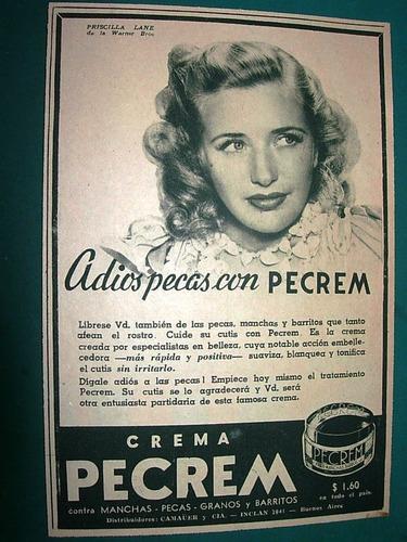 priscilla lane cine clipping recorte publicidad crema pecrem