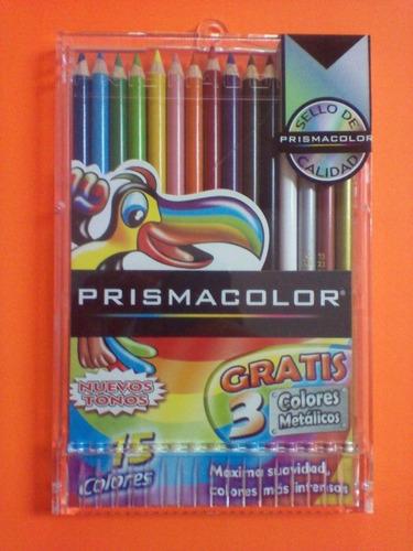 prismacolor colores  de 12 unidades + 3 gratis metálicos
