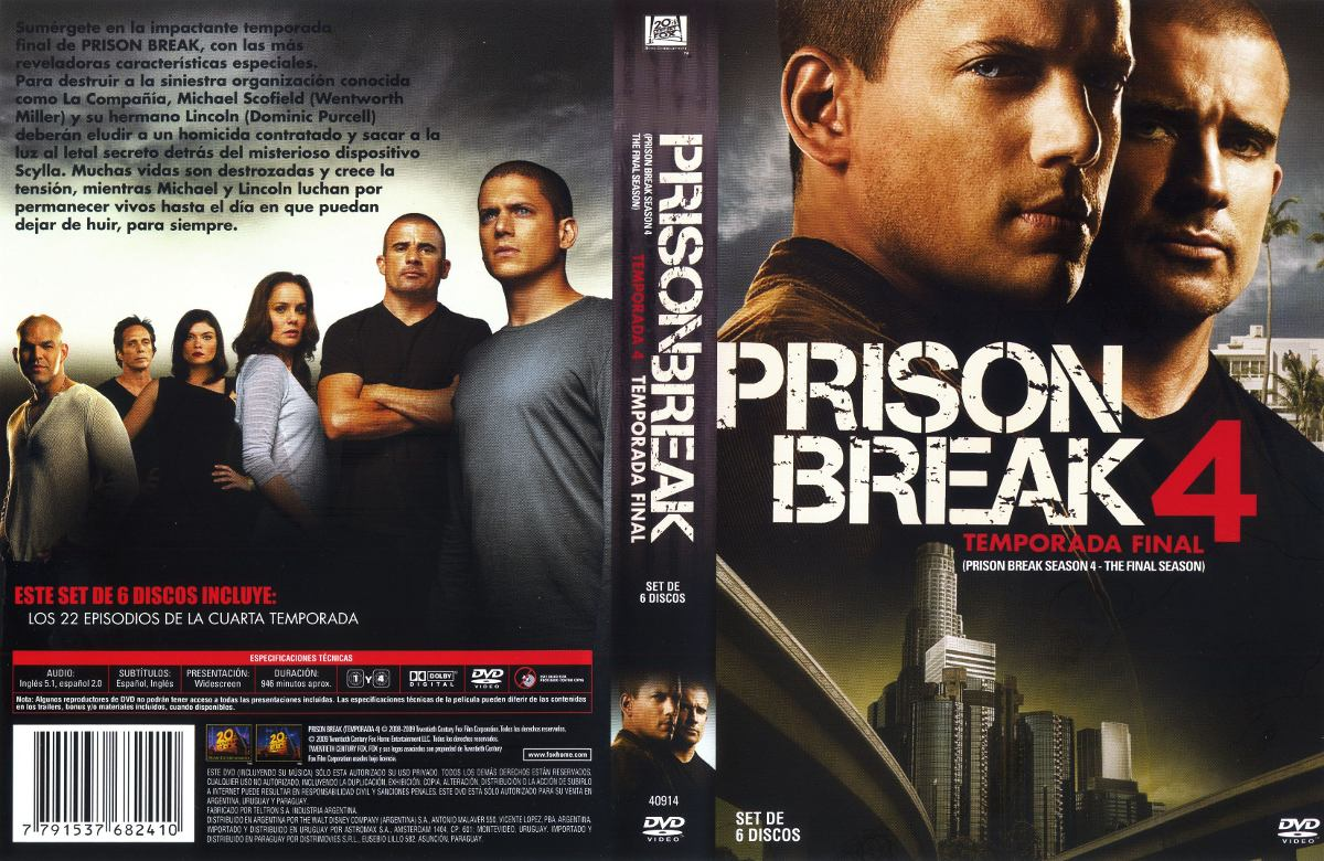 Prison Break Dvd Cuarta Temporada - $ 80,00 en Mercado Libre