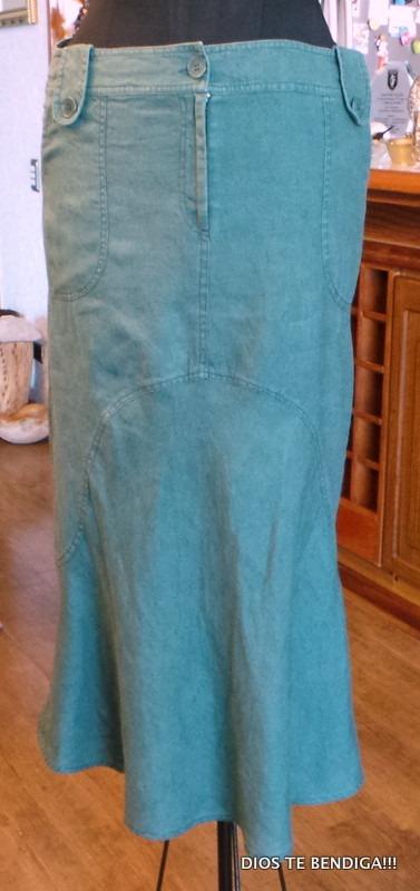 5f713e825 Privilege Falda De Lino Acampanada Verde T40 - $ 23.990