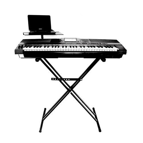 pro stands pie teclado mesa tijera doble c/ soporte notebook