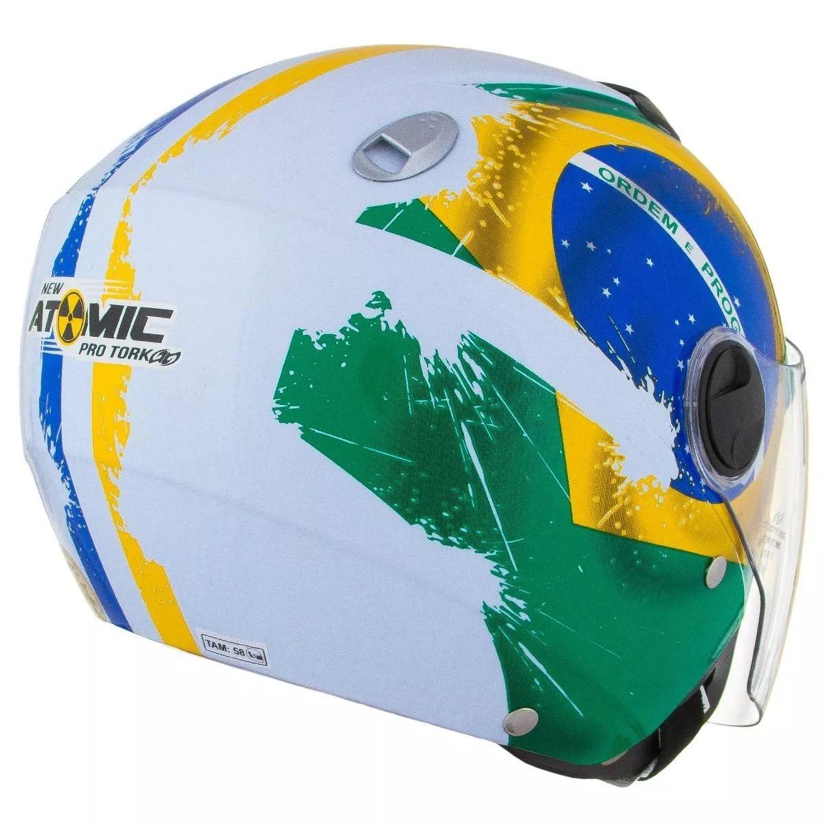 Carregando zoom... capacete de moto pro tork new atomic bandeira do brasil f26726fd1bd