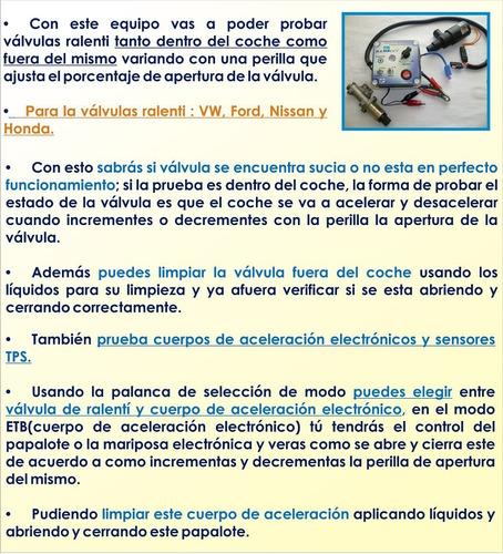 probador de cuerpos de aceleración y válvulas de ralenti
