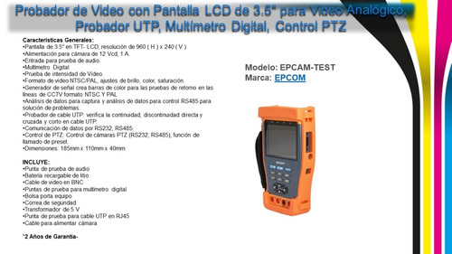 9f2f07c4c3d7 Probador De Video Con Pantalla Lcd De 3.5 Para Video Analóg - U S ...