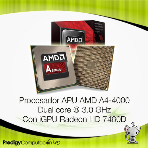 procesador cpu amd apu a4 4000 x2 3.0 ghz fm2 radeon hd7480d