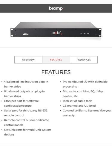 procesador digital de audio nexia sp biamp, 4 ent y 8 salids