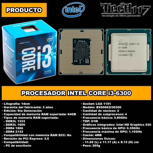 procesador intel core i3 6300 3.80ghz lga 1151