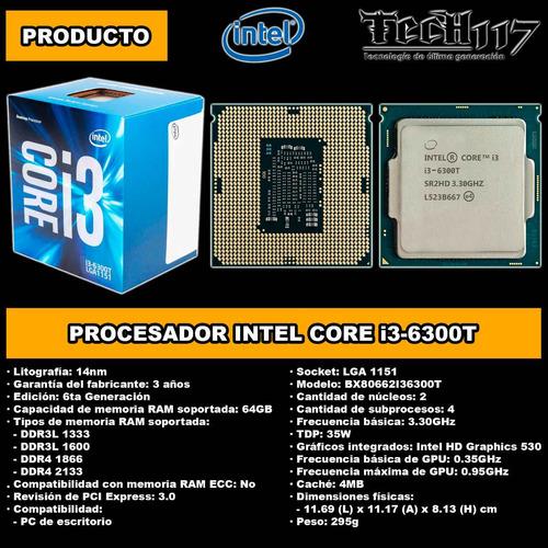 procesador intel core i3 6300t 3.30ghz lga 1151