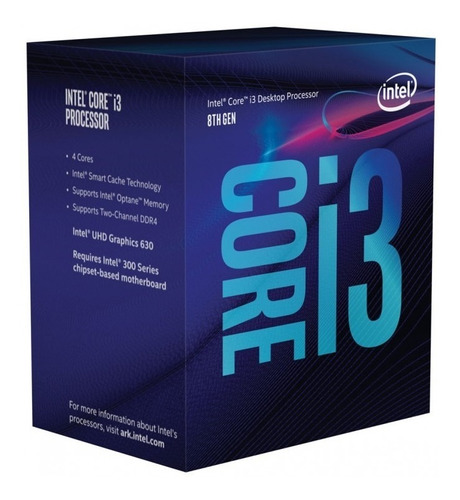 procesador intel core i3 8100 3,6 ghz x4 8va gen socket 1151
