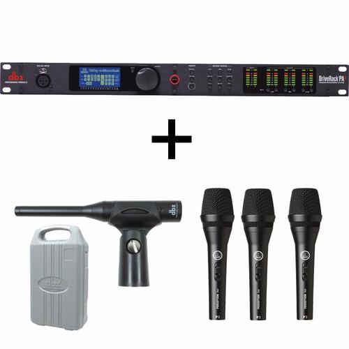 processador dbx pa 2 + 3 mic akg + dbx rta m - g musical