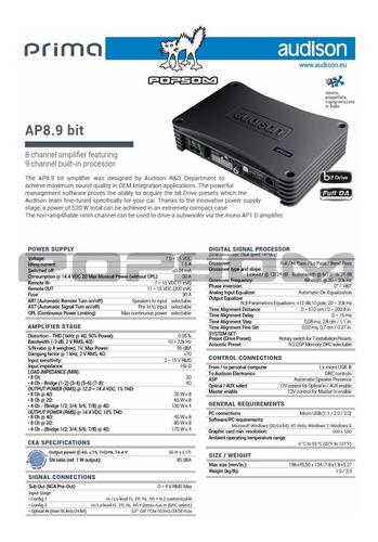 processador de audio e amplificador audison ap 8.9 bit c/ nf