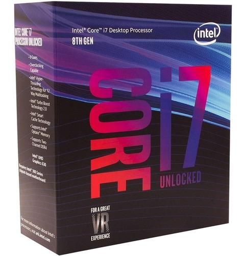 processador intel core i7 8700k coffee lake, cache 12mb, 3.7ghz (4.7ghz max turbo), lga 1151 - bx80684i78700k