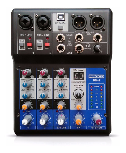 proco bk4 mixer consola 4 canales usb xlr phantom power