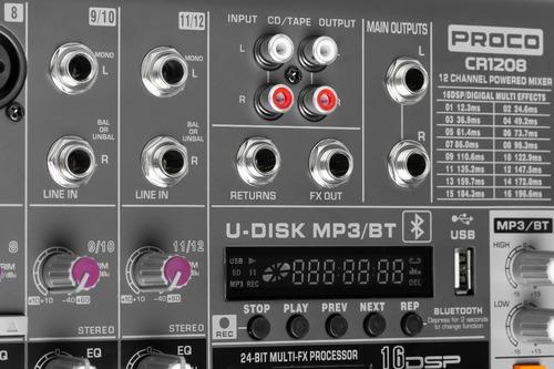 proco cr 1208 consola audio mixer potenciada 12 fx usb bt
