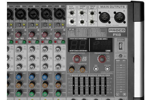 proco px-8 consola audio mixer potenciada fx usb bt
