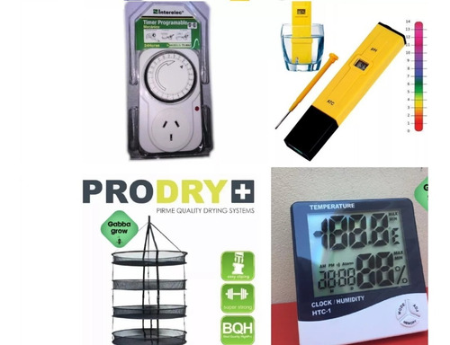 prodry red secado garden highpro + reloj higrometro htc-1 + interelec timer + medidor ph digital gabba grow olivos