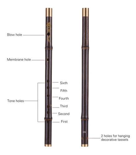 profesional bambú negro dizi flauta tradicional hecho a mano
