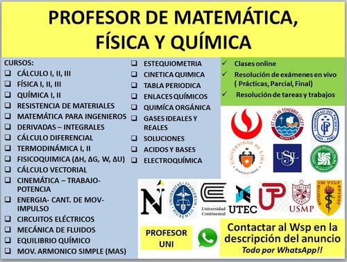 profesor de física química y matemáticas universitario