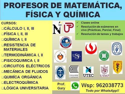 profesor de física, química y matemáticas universitario