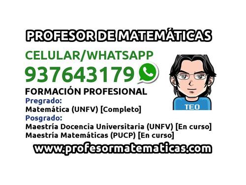 profesor de matemáticas a domicilio. clases surco san borja