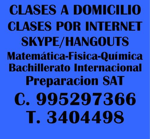 profesor de matemáticas a domicilio/online skype,fisica.
