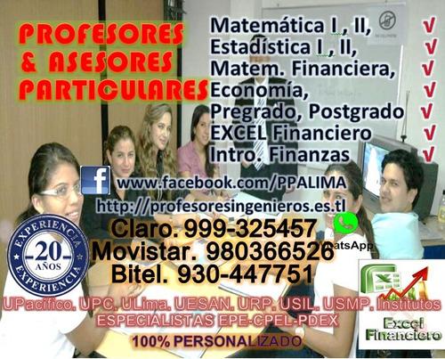 profesor particular estadistica, matematica financiera.