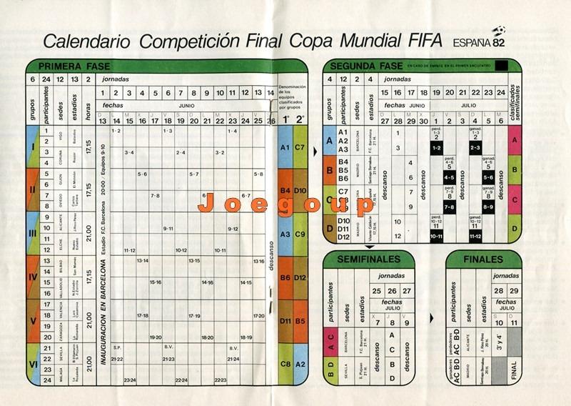 Calendario Mundial Futbol.Programa Calendario Copa Mundial De Futbol Espana 82 100 00